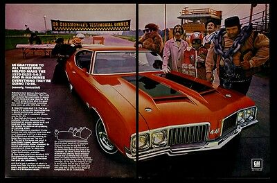 1970 Olds Oldsmobile 442 4-4-2 red car photo vintage print ad