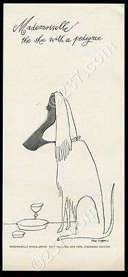 1961 Tomi Ungerer dog shoe cartoon Mademoiselle women's shoes vintage print ad