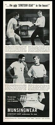 1944 locker room men fighting over underwear photo Munsingwear vintage print ad
