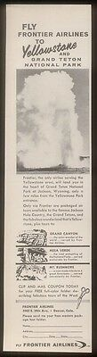 1962 Yellowstone Old Faithful photo Frontier Airlines ad