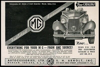 1951 M.G. MG Midget car photo vintage print ad