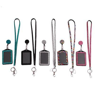 Retractable Reel Bling Bling Crystal Lanyard Cell Phone+Vertical ID Badge Holder