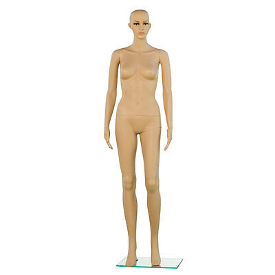 Female Mannequin Plastic Realistic Display Clothes Head Turns Dress Form w/ Base