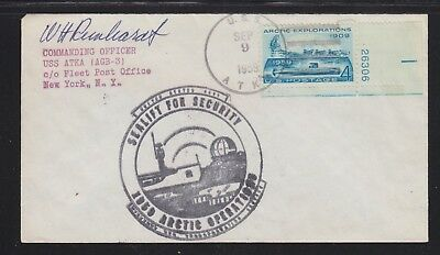 Usa 1959 Sealift For Security Uss Atka Arctic Operations Co Signed Naval Cover
