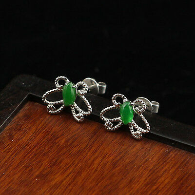 Natural Type A Icy Green Butterfly 18K Gold filaments Jadeite Earring 《Grade A》