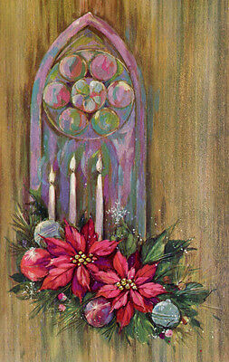 UNUSED Vintage Christmas Card: Stained Glass WIndow with Candles