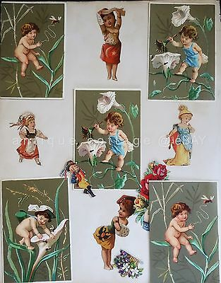 "1800s antique victorian DIE CUT SCRAPBOOK PAGES AND TRADE CARDS 9.5""x12"""