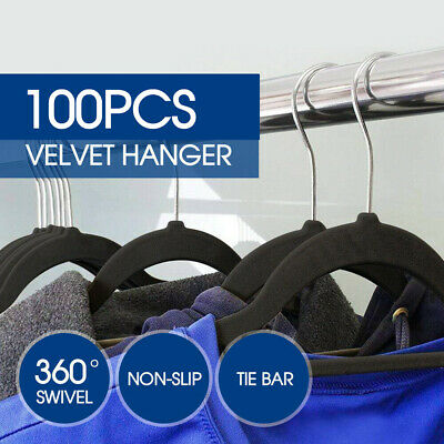100 PCS Velvet Coat Hangers Clothes Pants Closet Nonslip Space Saving Thin AU