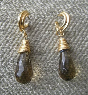 NEW Vtg Faceted Olive Green Teardrop Jewel Brushed Gold Byzantine Style Earrings