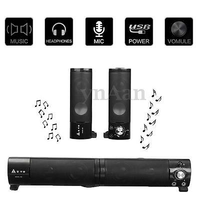 2 in 1 Separable 3.5mm USB Stereo Sound Bar Speaker For PC Laptop Notebook Phone