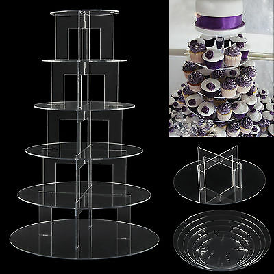 6 Tier Round Acrylic Cupcake Stand Wedding Birthday Party Cupcake Display Rack