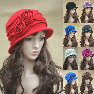 Womens Floral 1920s Vintage 100% Wool Beret Beanie Cloche Bucket Winter Hat A287