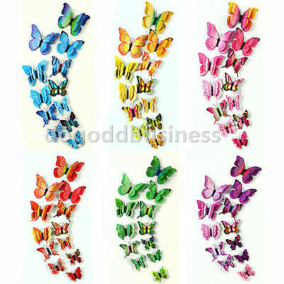 12pcs 2 Layer 3D Butterfly 4 Wings Wall Stickers Art Decal Home Kids Room Decor