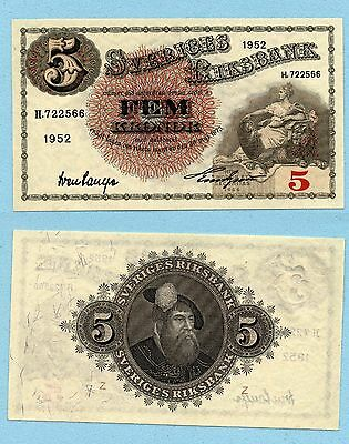 SCHWEDEN Sweden 5 Kronor 1952 EF Pick # 33ai the last one from issue
