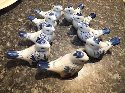Hand Painted Blue White Delft Russian ?  9 Birds Salt & Pepper Shakers Porcelain