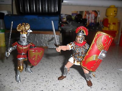 Papo - Red Eagle Knight & Roman Centurion Soldier - Used/Played With