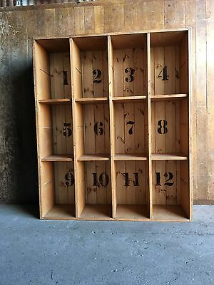 Vintage Rustic Wooden Old School Upcycled Reclaimed Pigeon Holes Shelves Storage