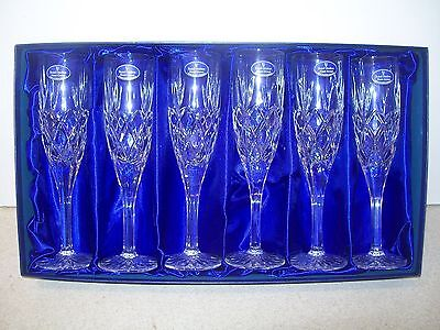 Six Royal Doulton Finest Crystal Champagne Flutes Glasses - Boxed & Unused
