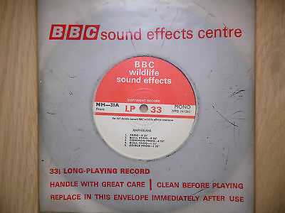 """BBC Sound Effects 7"""" Record - Amphibians - Bull Frog, Common, Edible, Marsh Toad"""