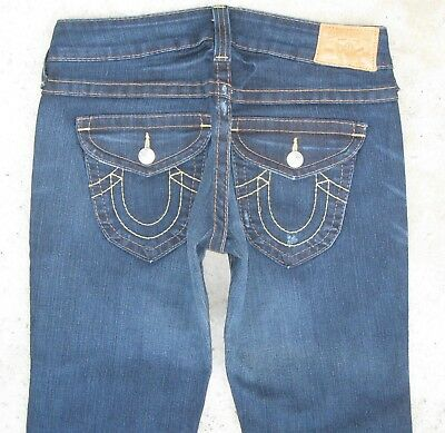 True Religion Womens Joey Jeans Low Bootcut Dark Blue Distressed Sz 31 NEW $240