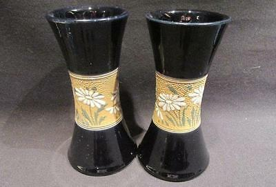 Burslem Royal Doulton Pair of Vintage Deep Blue Vases with Daisy Design