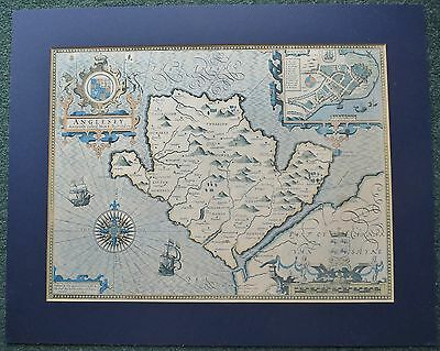 """Mounted Reproduction of John Speed's Map of Anglesey (map 15.7"""" x 12"""")"""