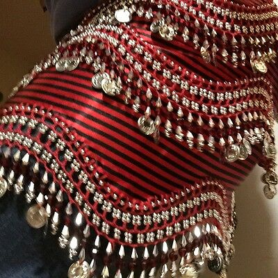 New Red Belly Dance Hip Scarf Silver Coins