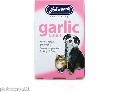 Johnsons Garlic Tablets Supplement For Dogs Cats Natural Herbal Conditioner 40