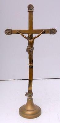 Antique French Brass Religious Cross Crucifix on Stand