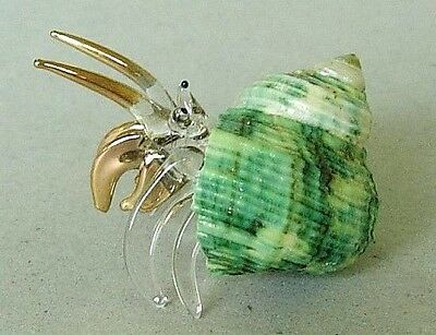 HERMIT-CRAB, Green Shell Ornament, Gold Painted, Clear Glass, Sea, Marine, Ocean