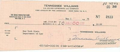 Tennessee Williams- Signed Over-Sized Bank Check