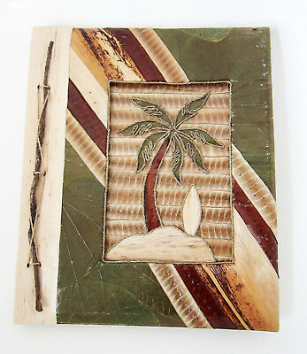 Large Handmade photo album, made using natural lief & bark PALM TREE DESIGN  new