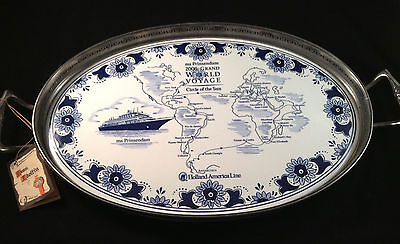 Holland America Cruise Line Delft Pewter Serving Tray Blue Delft