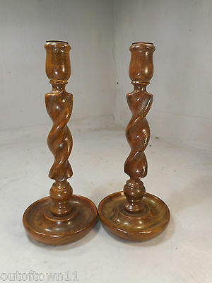 Vintage Pair Oak Barley Twist Candlesticks    ref 2353