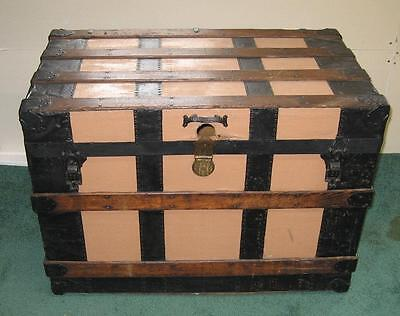 Vintage Large 35x20x25-Inch Wood Hinged Trunk Chest w/ Wheels