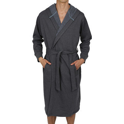 Men's Cotton Hooded Robe-Bathrobe-Thick ( Sweatshirt  Style Fabric ) USA Seller