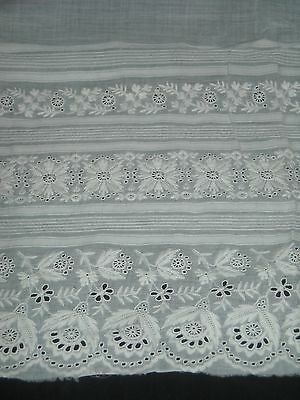 LOVELY Antique Cotton Embroidered Eyelet Lace Vintage Trim Embroidery Edwardian
