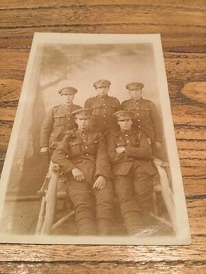 OLD  Pòstcard.  A Group Of Five Military Soldiers