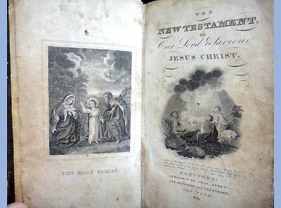 1824 antique NEW TESTAMENT BIBLE silas andrus LEATHER