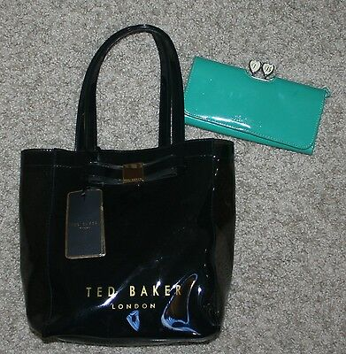 Lot of 2 Ted Baker Ronnee Teal Patent Leather Clutch Wallet & Small Salcon Bag