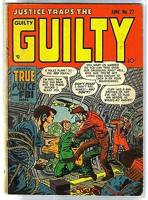 Justic traps the GUILTY #27 True Police & FBI Cases! Golden Age Comic Book~G/VG