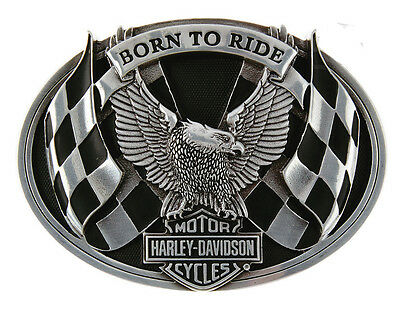 Harley Davidson Mens Born To Ride Eagle B&S with Racing Flags Black Buckle