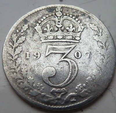 EDWARD VII 1907 SILVER 3d THREEPENCE COIN HUNT