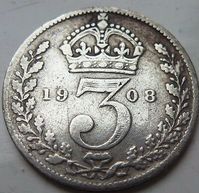 EDWARD VII 1908 SILVER 3d THREEPENCE COIN HUNT