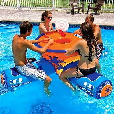 World of Watersports WOW 2-4 Person Inflatable Floating Aqua Table for Pool