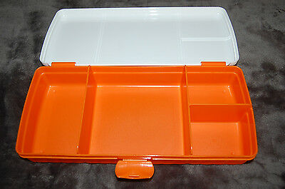 Tupperware Lunch N Things Sandwich Juice Box Orange White divided storage Bento