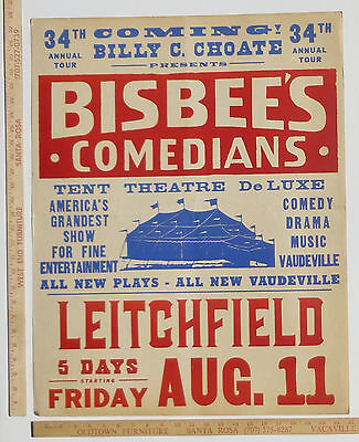 Bisbees Comedians Traveling Tent Show Carnival Vaudeville Poster 1961 Kentucky