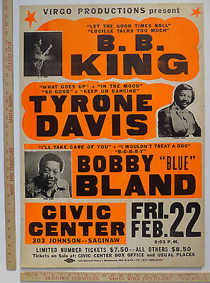 "BB King Tyrone Davis Bobby ""Blue"" Bland Concert Poster Saginaw Michigan ~1980"