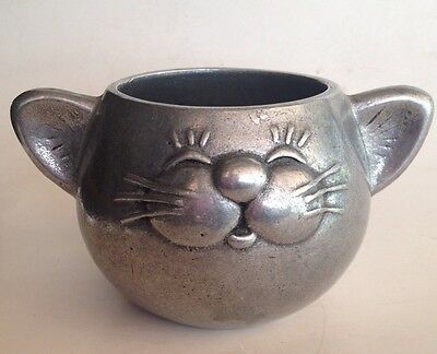 vintage 1985 Wilton - CHILD'S PEWTER METAL MUG - Happy Cat Face - Ear Handles