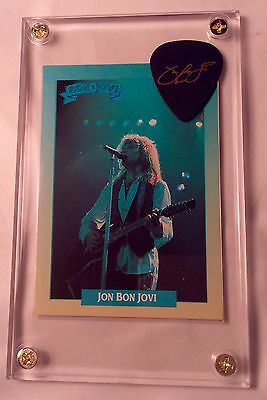 LOOK Nice Jon Bon Jovi signature guitar pick / trading card display w/ stand!